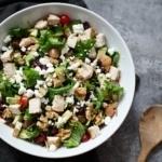 chicken kale waldorf salad in a bowl