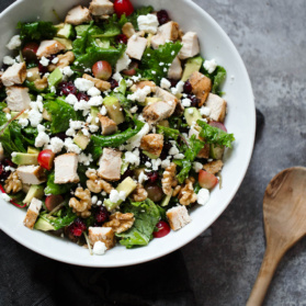 kale waldorf salad in a bowl