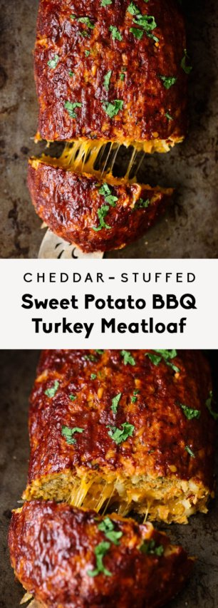 collage of cheddar-stuffed bbq sweet potato turkey meatloaf