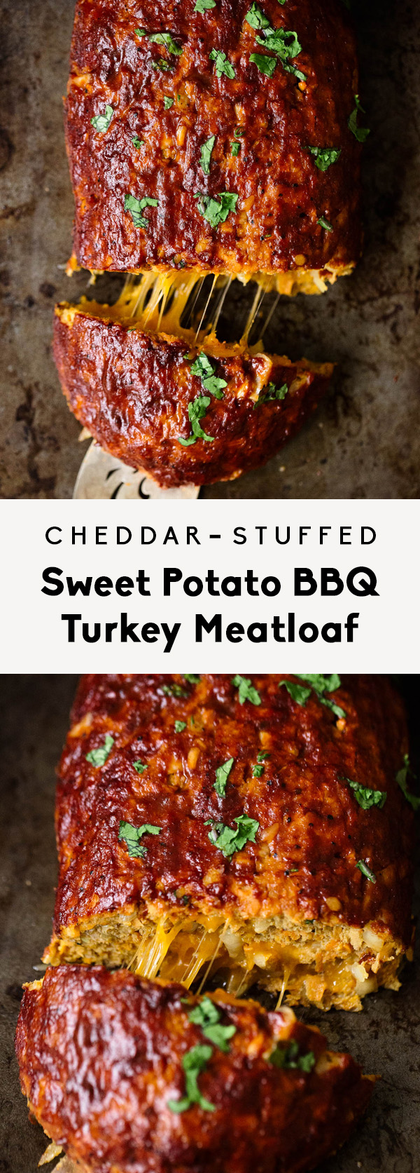 collage of cheddar-stuffed sweet potato bbq turkey meatloaf