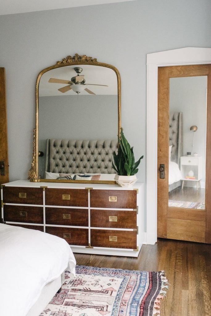 white modern master bedroom. Glam And Modern Master Bedroom With White Bedding Bronze/gold Unique Touches