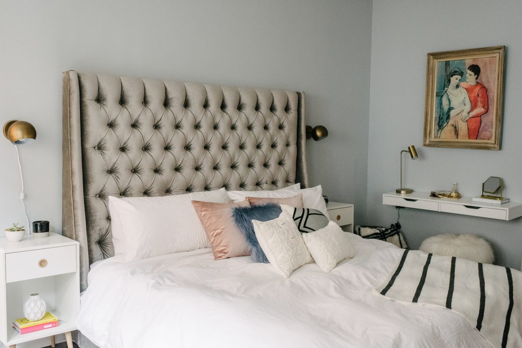 Bold, Glam And Modern Master Bedroom With White Bedding And Bronze/gold  Unique Touches