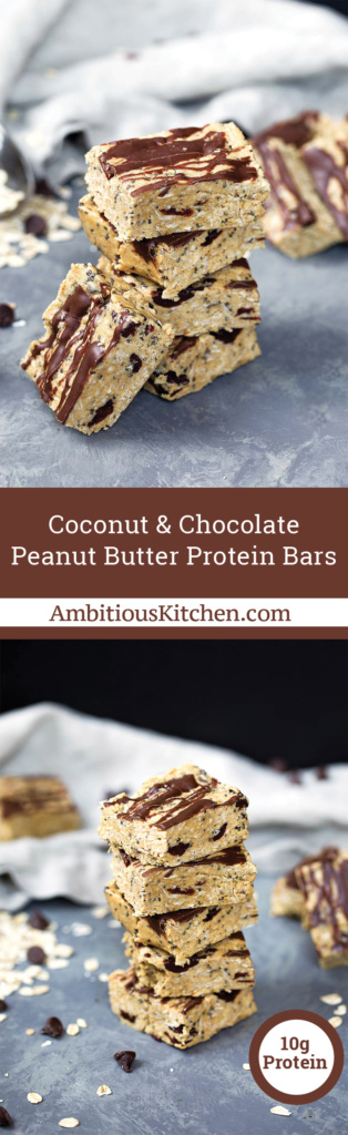 Peanut butter protein bars made with simple, healthy ingredients like oats, peanut butter, chia seed, coconut and protein powder. Drizzled with chocolate!