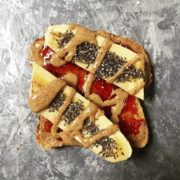 pb&j banana toast with chia seeds
