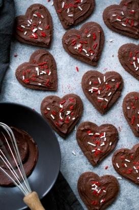 Grain Free Almond Flour Chocolate Sugar Cookies cut into hearts