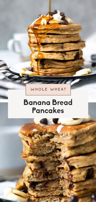 collage of whole grain banana bread pancakes