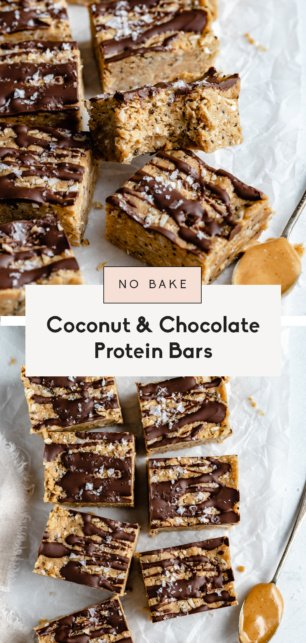 collage of coconut chocolate protein bars