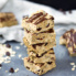 Peanut butter protein bars in a stack
