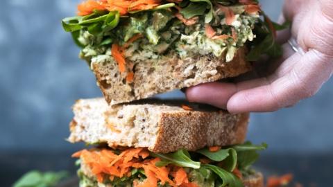 Avocado pesto chicken salad sandwich