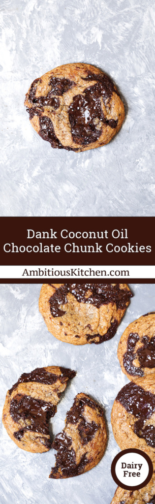 The best coconut oil chocolate chip cookies with puddles of dark chocolate in every single bite. Slightly crispy on the outside with a chewy middle.