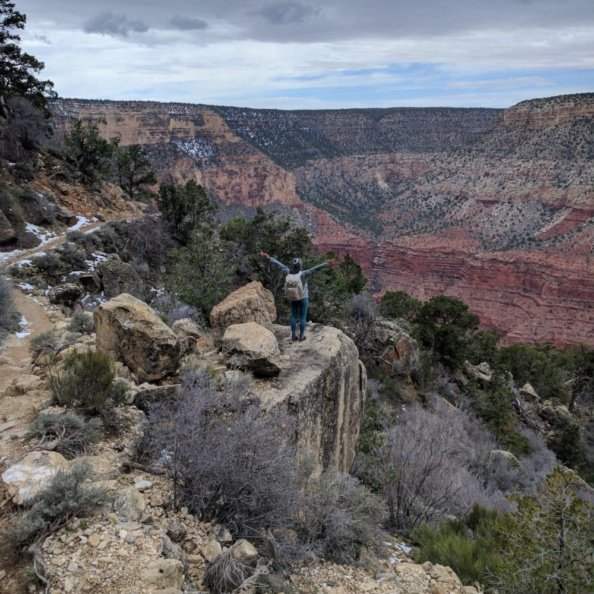 monique on a rocky cliff