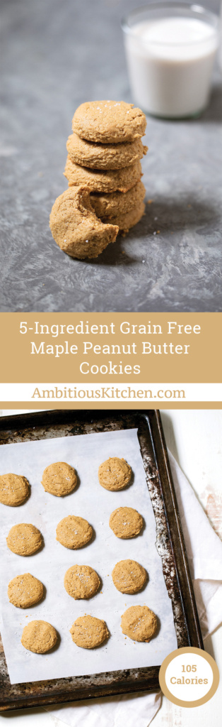Easy one bowl maple peanut butter cookies made with only 5 simple ingredients. Grain free, gluten free and dairy free. Only 20 minutes from start to finish.