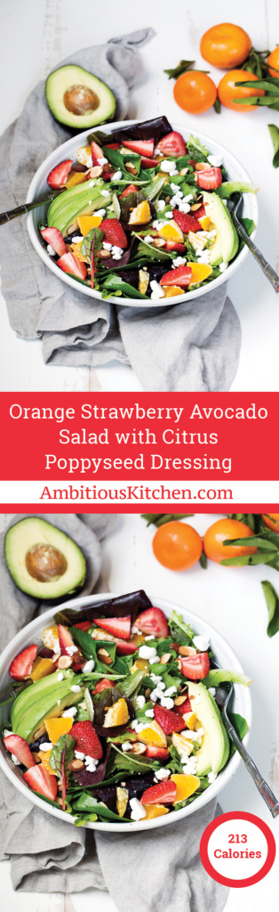 Strawberry Avocado Salad packed with heart-healthy fats, creamy goat cheese, toasted almonds and a light poppyseed dressing.