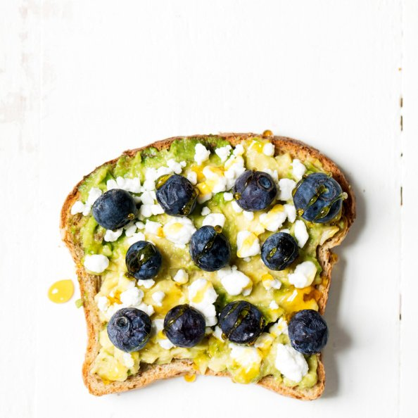 Avocado toast with blueberries