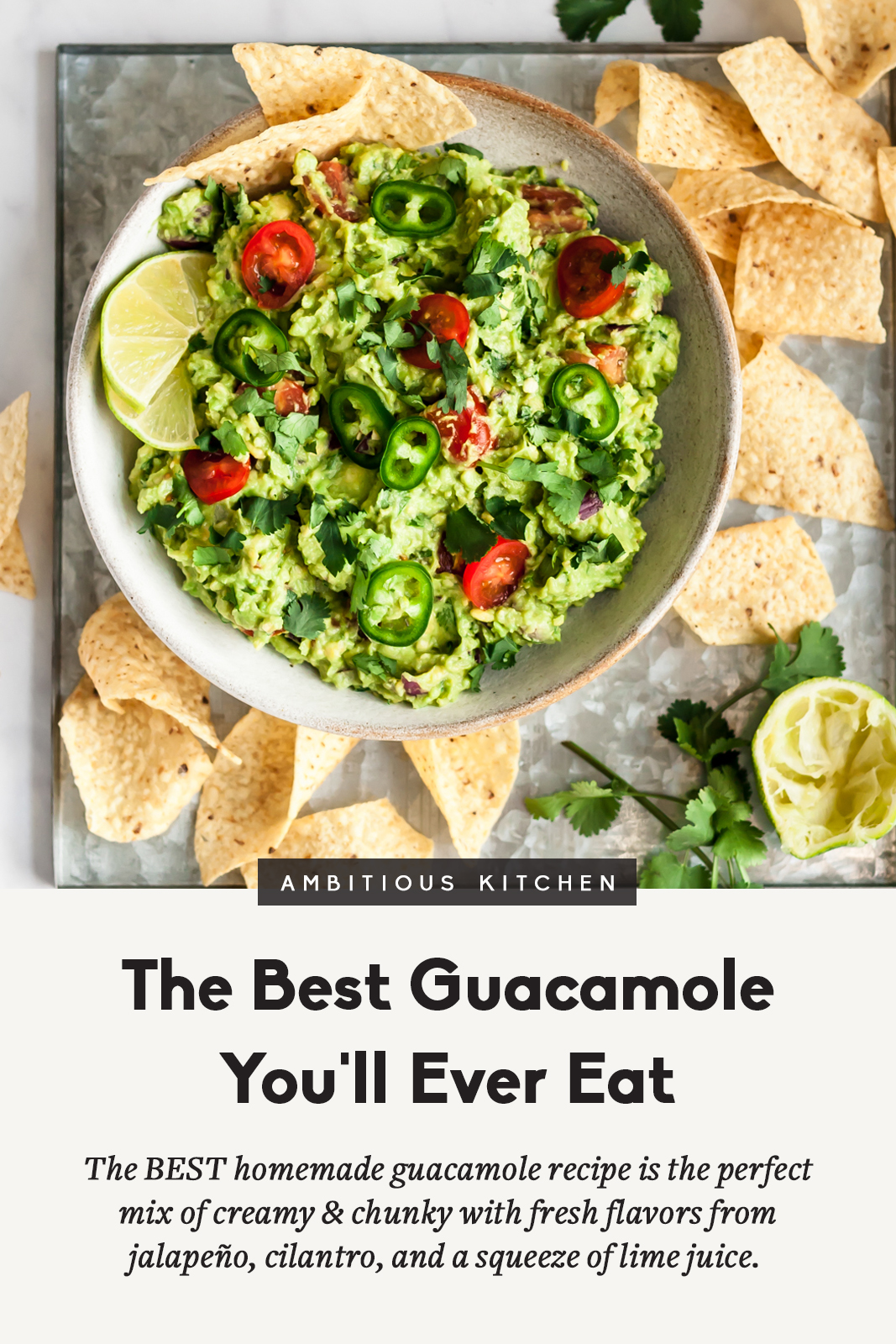 the best guacamole recipe in a bowl with chips on the side and text underneath