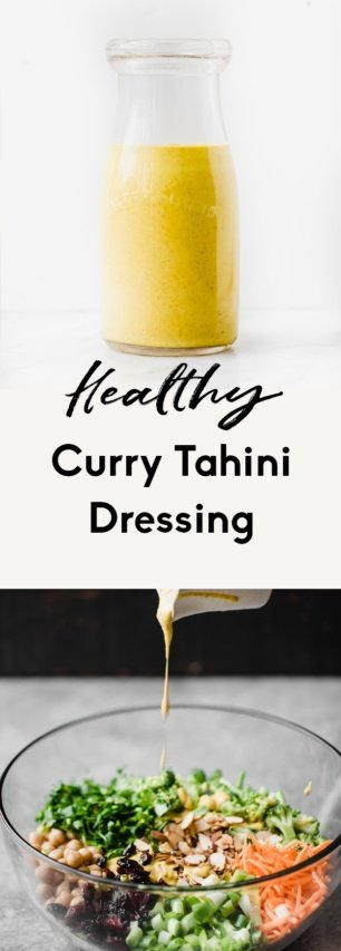 collage of healthy curry tahini dressing