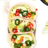 scrambled tofu breakfast tacos on a platter