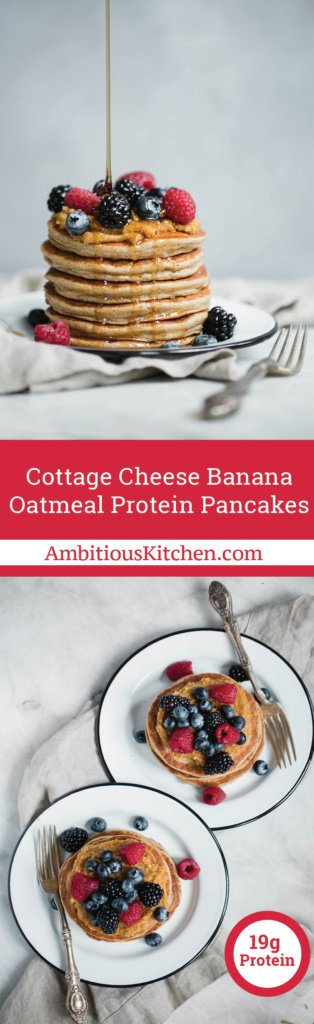 Delicious protein pancakes made in a blender with ingredients like potassium rich banana, protein-packed cottage cheese and oats! 20g protein per serving.