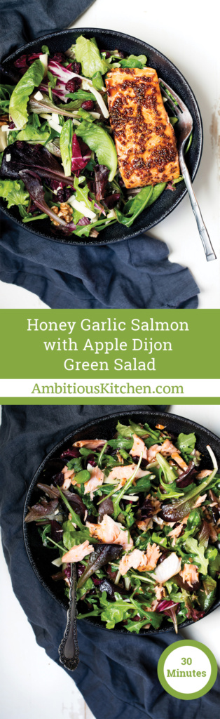 Flavorful delicious easy salmon with a dijon honey garlic marinade. Simple to make and only takes 30 minutes from start to finish!