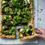 Caramelized Onion, Fig & Goat Cheese Pizza with Arugula + video