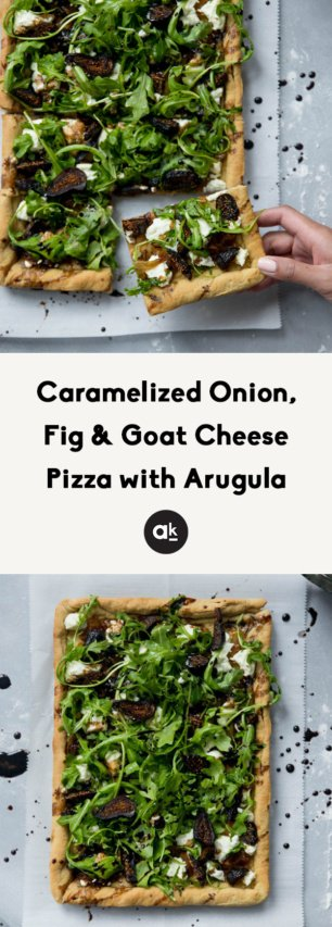 onion, fig and goat cheese pizza collage