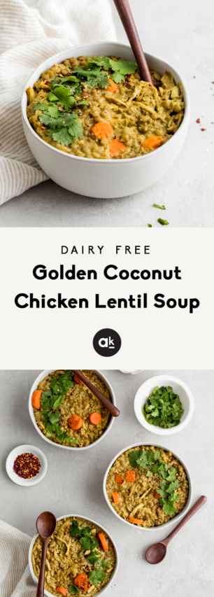 collage of chicken lentil soup