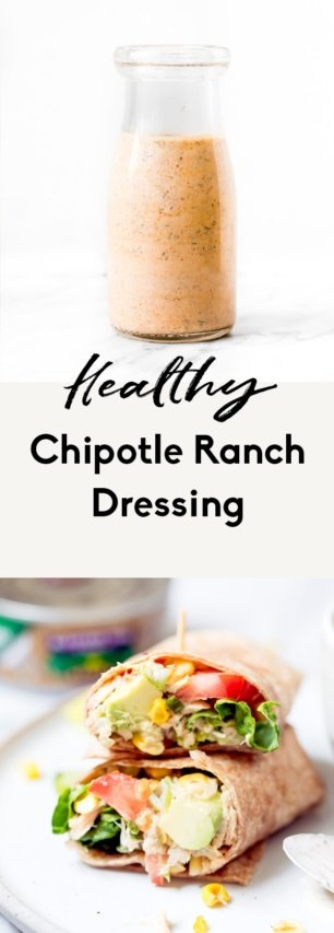 collage of healthy chipotle ranch dressing