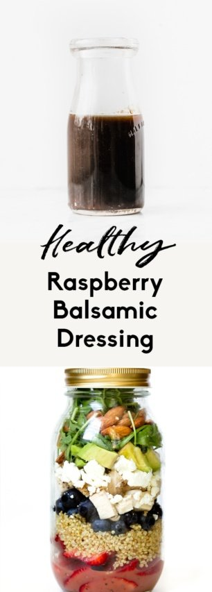 collage of healthy raspberry balsamic dressing