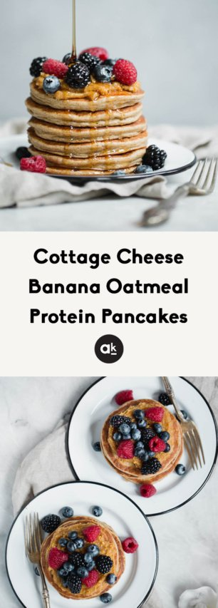 collage of protein pancakes
