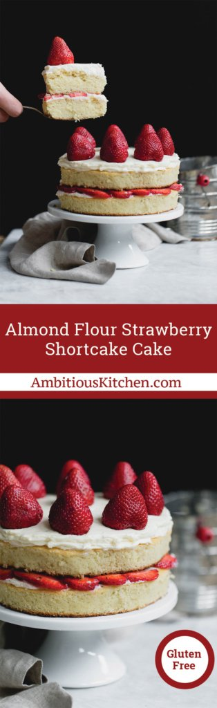 Try this gorgeous almond flour strawberry shortcake cake made with a mix of almond & coconut flour and Almond Breeze almondmilk!