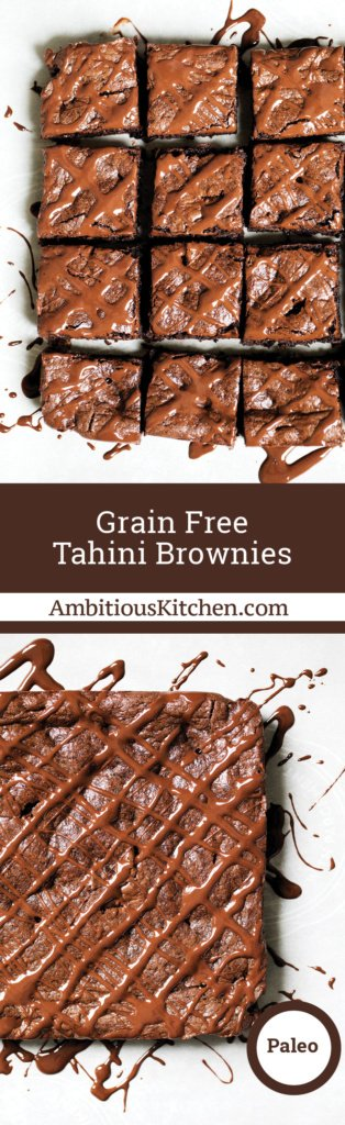 The best brownies I've ever eaten: tahini brownies. No butter, flour, oil or refined sugar. These paleo, gluten free and grain free brownies are incredible!