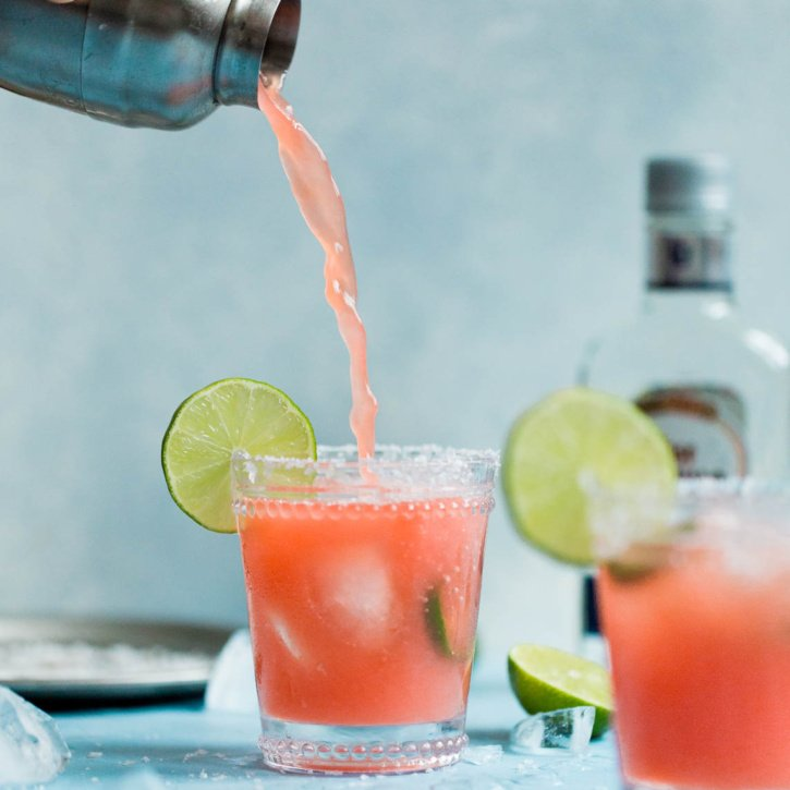 Skinny Jalapeño Watermelon Margaritas that are naturally sweetened with watermelon juice and a touch of agave. So easy to make and perfect sweet and spicy. The ultimate summer margarita! Options to make a small batch or a pitcher to share.