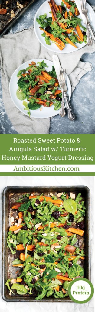 Roasted sweet potato arugula salad is a perfect lunch or appetizer. Topped with a light honey mustard yogurt dressing with a hint of gorgeous turmeric.