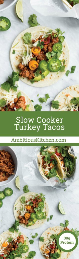 The easiest slow cooker turkey tacos on the planet. Made with a DIY homemade taco seasoning. My go-to weeknight taco recipe!