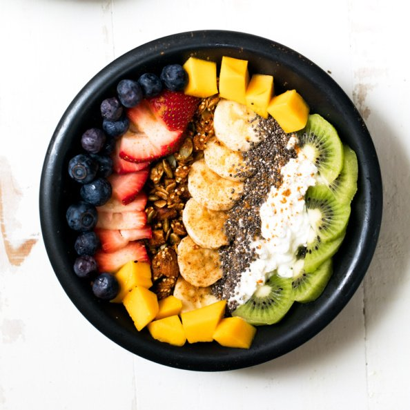 cottage cheese bowls with rainbow fruit