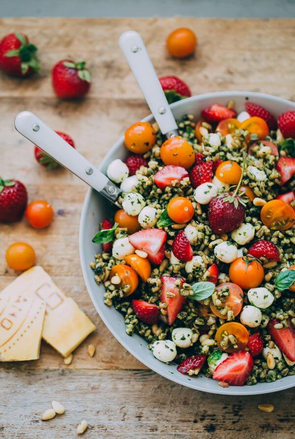 berry caprese salad in a bowl