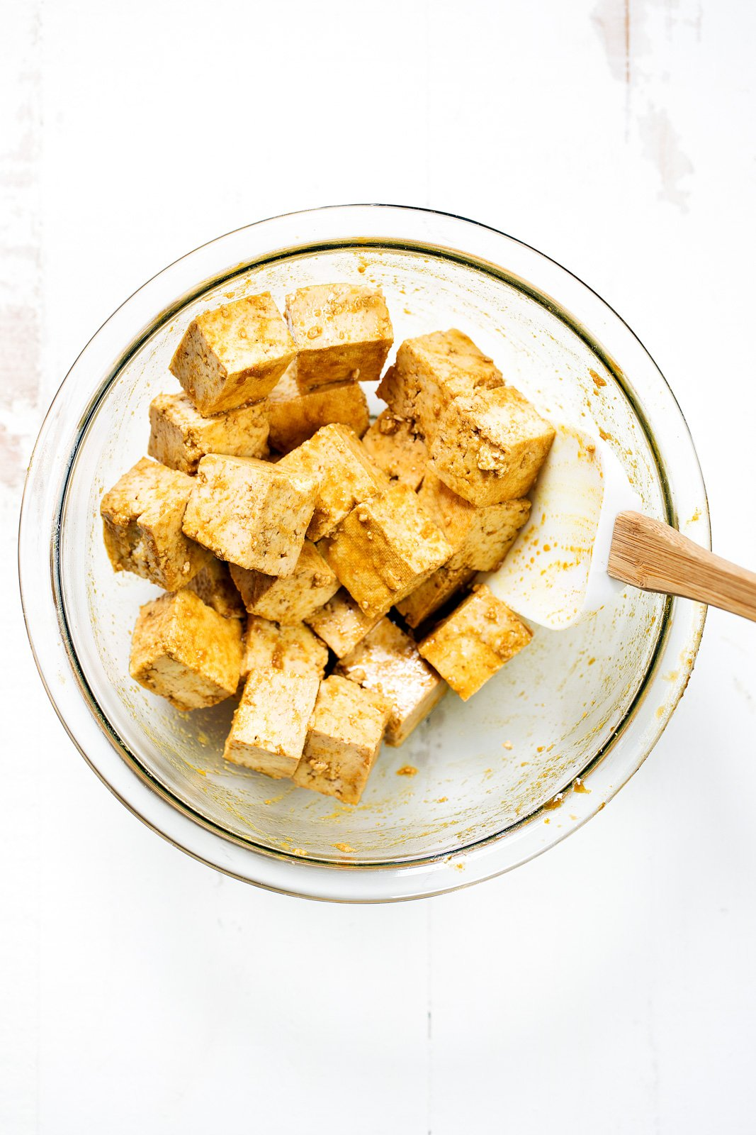 tofu in a bowl to make tofu kabobs