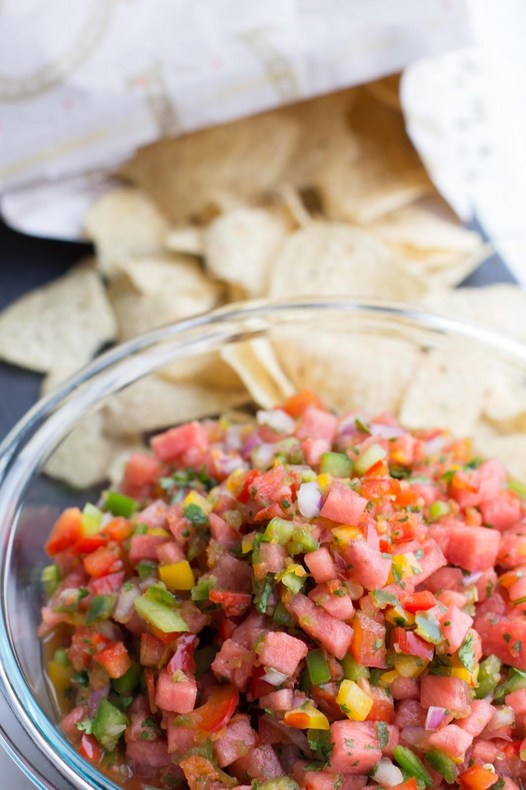 watermelon salsa in a bowl
