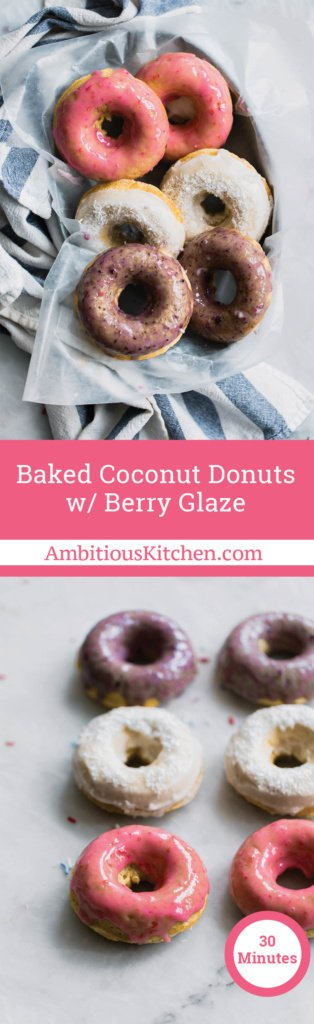 Baked coconut donuts with a sweet berry glaze. Easy to make and perfect for patriotic holidays like the 4th of July. I call these the All American Donuts.