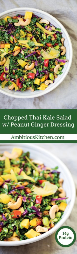 Vegan and gluten free chopped Thai Kale Salad with edamame, mango and veggies. Tossed with a flavorful peanut ginger dressing. A great lunch.