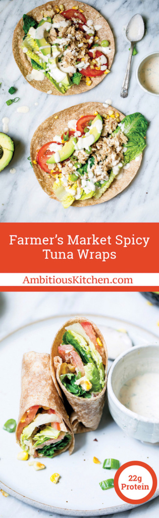 Easy, flavorful tuna wraps drizzled with light chipotle Greek yogurt ranch dressing. They're the perfect lunch and packed with farmer's market veggies.