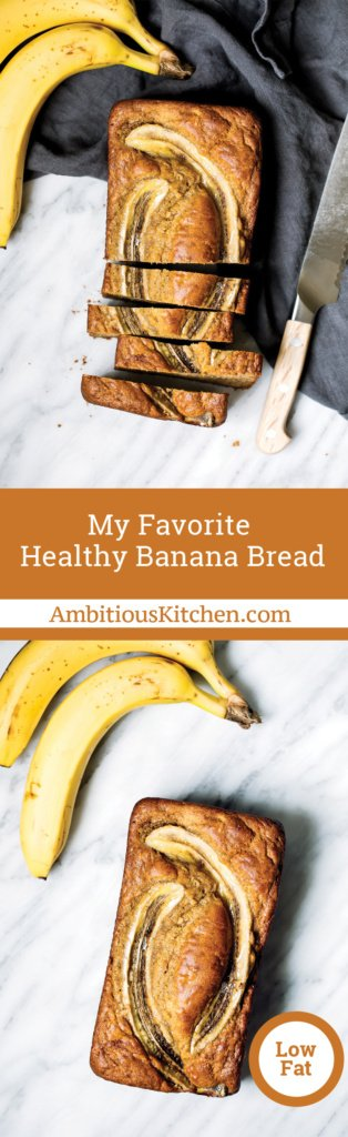Amazing healthy banana bread made with whole wheat flour, coconut oil, protein packed greek yogurt and naturally sweetened with a touch of pure maple syrup!