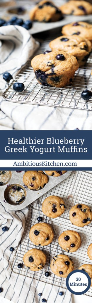 Healthy Blueberry Greek Yogurt Muffins made with whole wheat flour, greek yogurt, naturally sweetened with maple syrup. So moist and delicious!