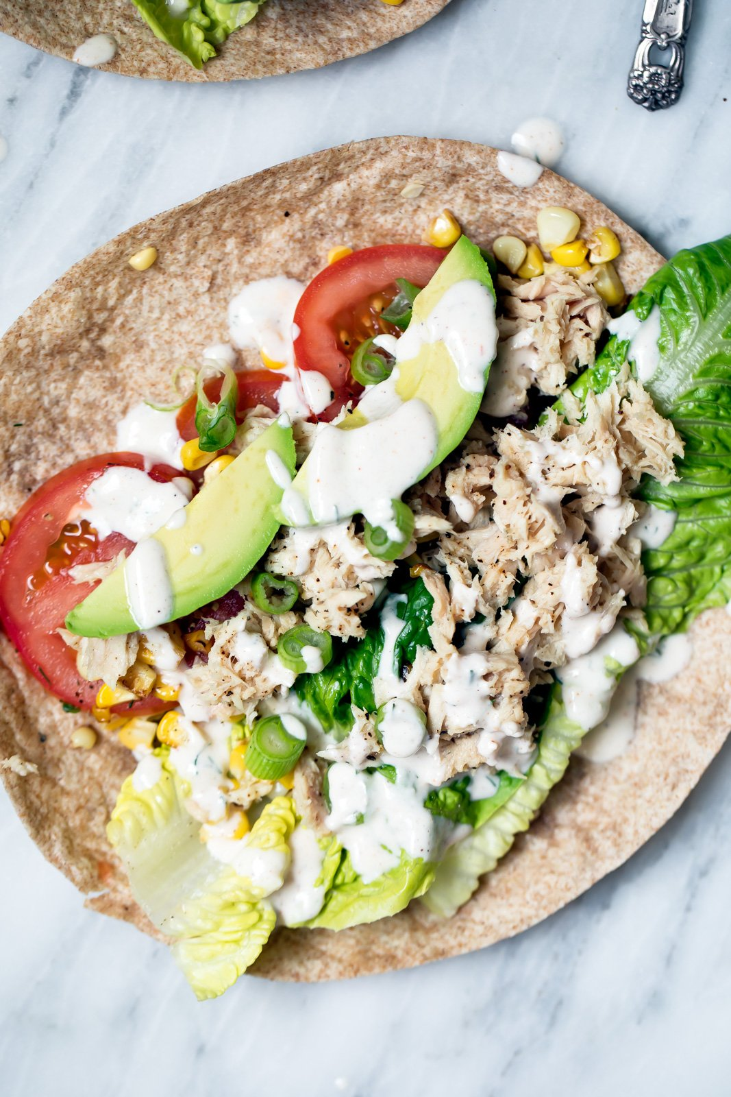 tuna wraps drizzled with light chipotle Greek yogurt ranch dressing