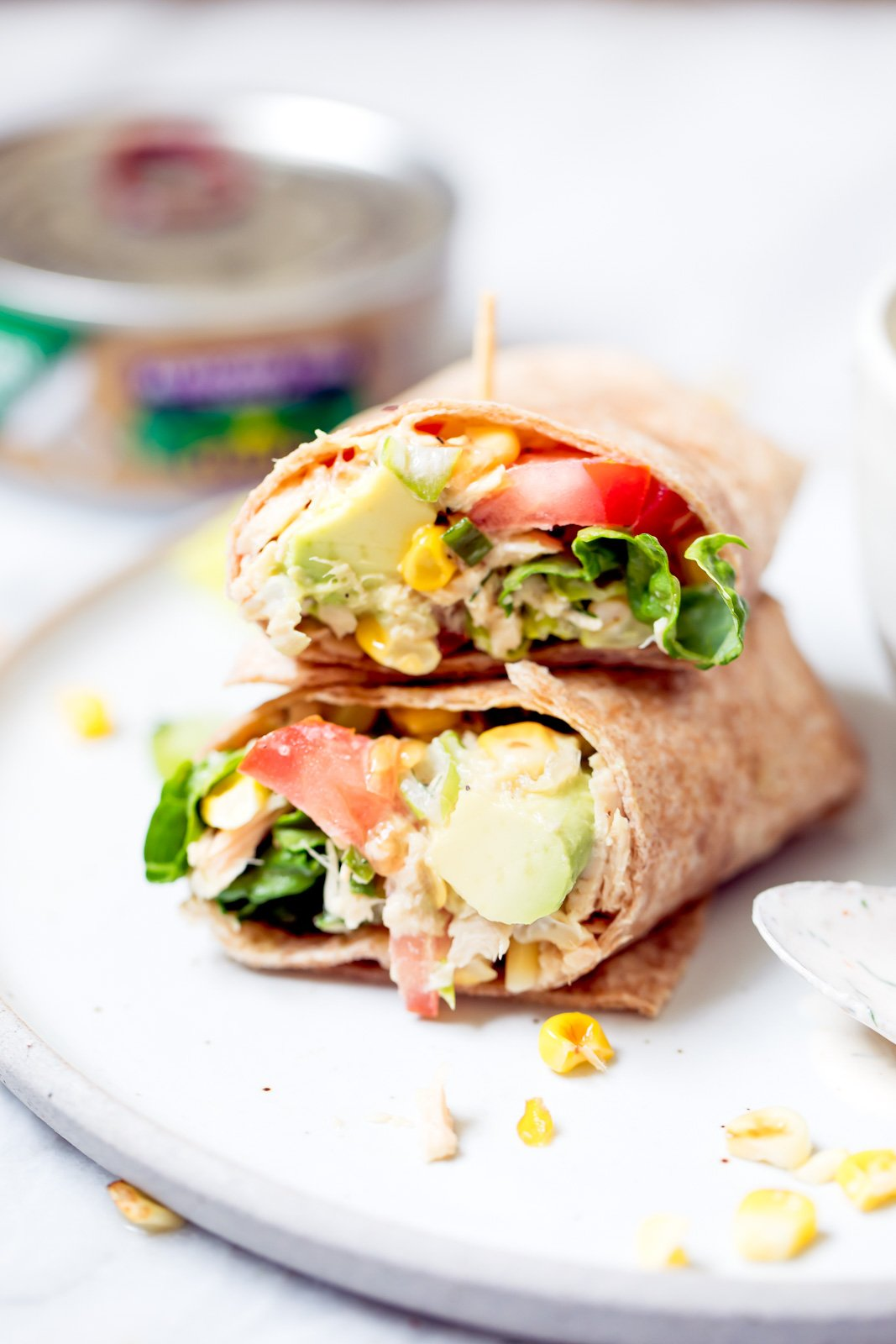 healthy tuna wrap on a plate