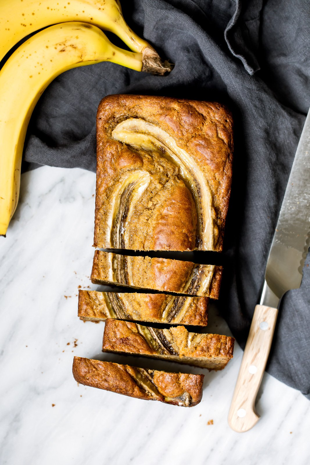 healthy banana bread sliced