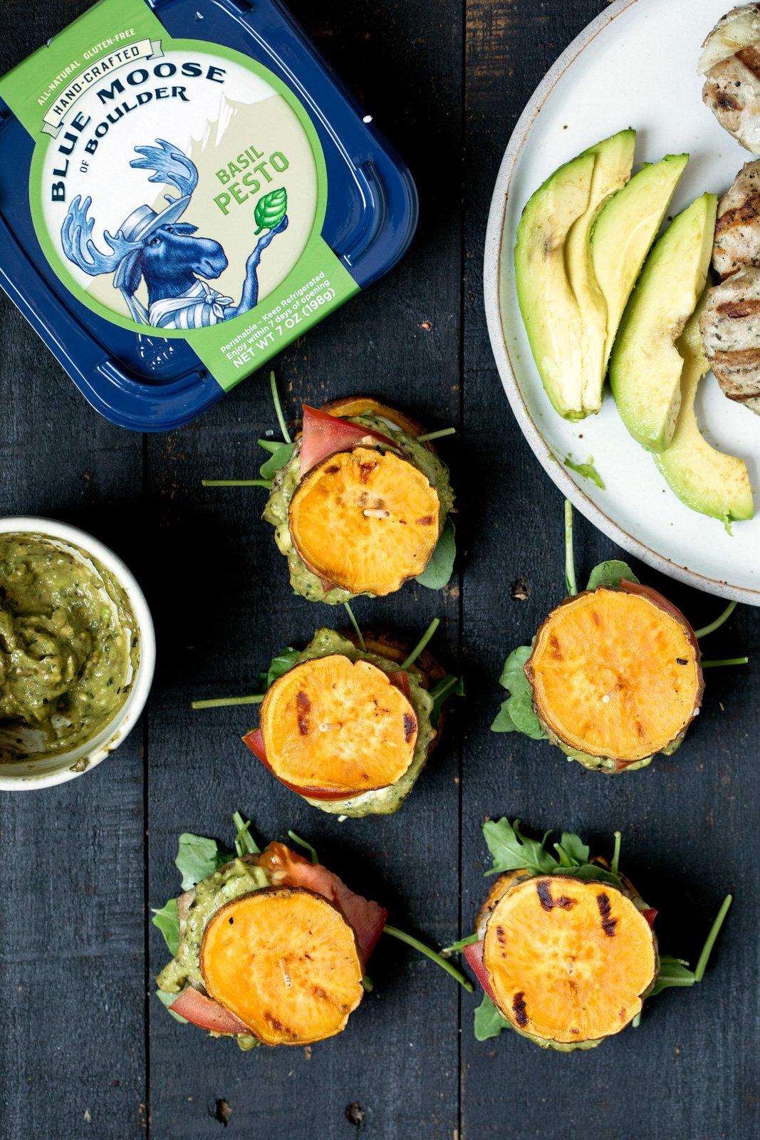 turkey burger sliders on sweet potato buns next to blue moose pesto