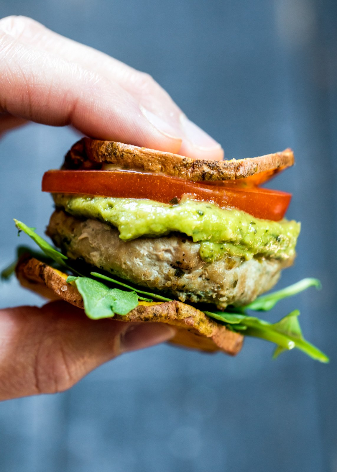 Paleo and gluten free turkey burger sliders on sweet potato buns. An easy bite sized recipe or appetizer for entertaining.