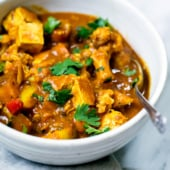 Tofu, Cauliflower, sweet potatoes, bell pepper, garlic, turmeric, ginger and simmer in vegetarian coconut milk based curry dish.