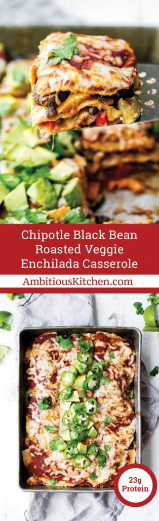 Layers of veggies snuggled between black beans, tortillas, a homemade chipotle enchilada sauce and cheese -- best & easiest vegetarian enchilada casserole!